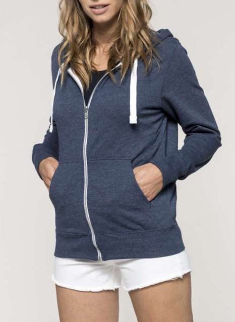 FULL ZIP HOODED HEATHER SWEATSHIRT